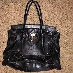 Black Leather Juicy Tote Purse